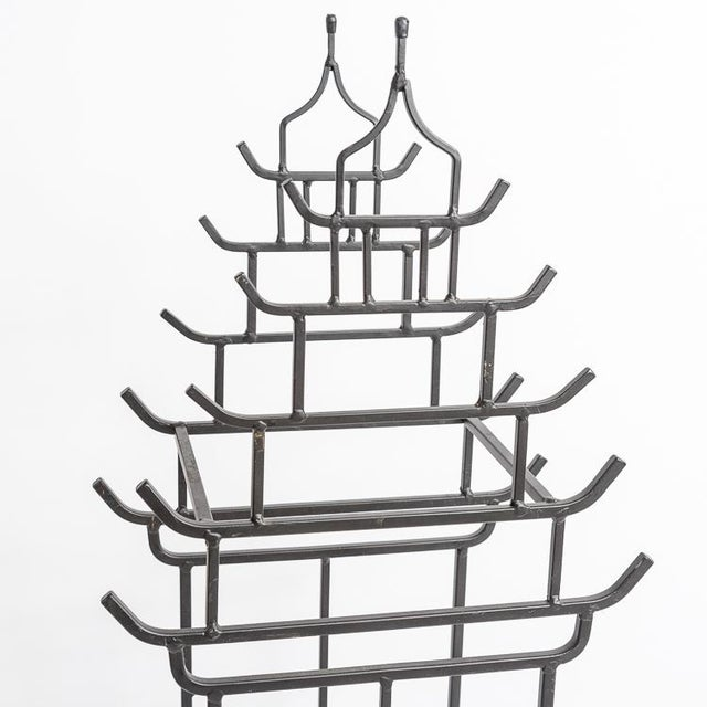 Chinoiserie Steel Pagoda Shape Umbrella Stand For Sale In West Palm - Image 6 of 9