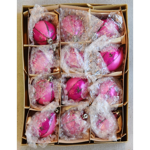 """Set of 12 vintage hand-decorated glass Christmas tree ornaments with box. No maker's mark. Ornaments, 1.75""""Dia x 3""""H; box,..."""