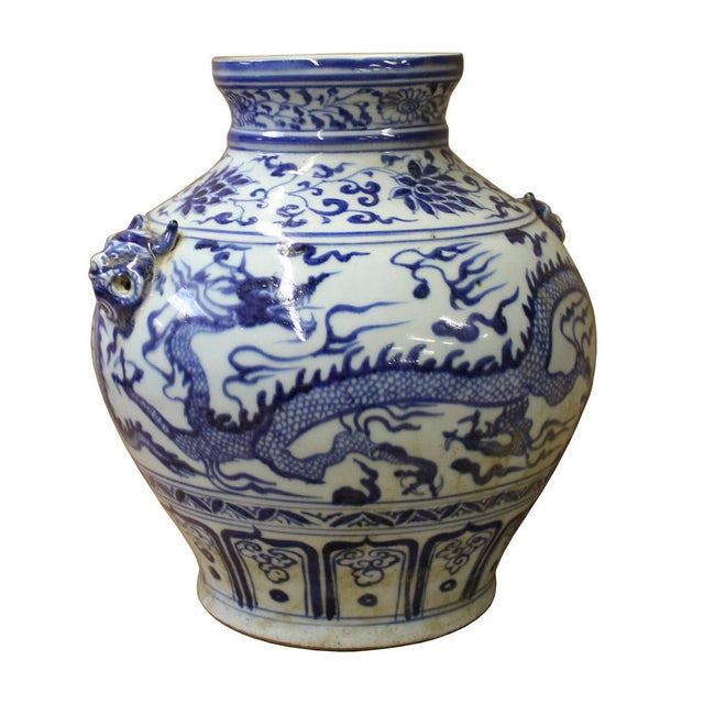 Chinese Blue White Porcelain Dragon Scenery Small Foo Dog Accent Vase Jar For Sale - Image 4 of 6