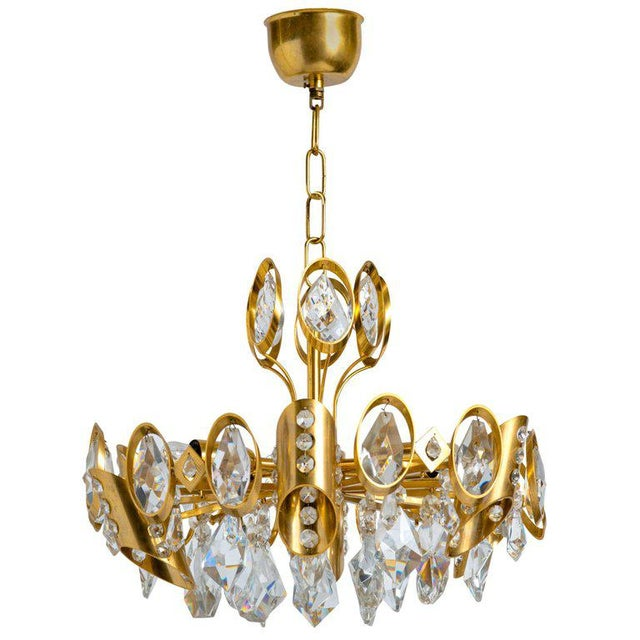 Brass Hollywood Regency Jeweled Crystal and Gilded Chandelier by Palwa For Sale - Image 7 of 7