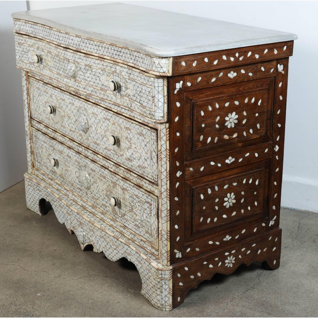 Fabulous pair of Middle Eastern Syrian artwork, handcrafted white wedding dresser with three drawers, wood inlay with...
