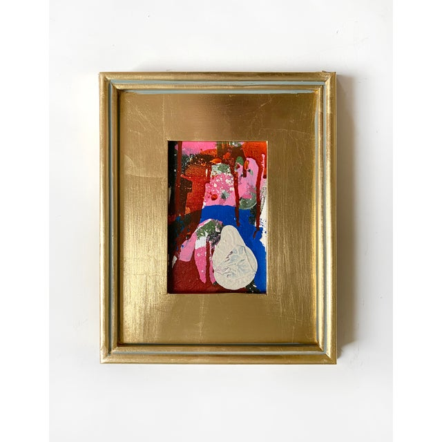 """Contemporary """"Ice Cream Accident"""" Mini Painting With Gold Frame For Sale - Image 3 of 3"""
