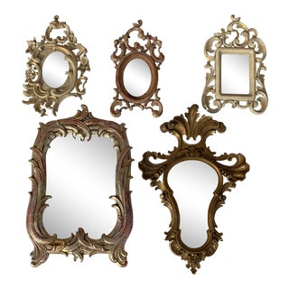 Miniature Rococo Style Mirror / Photo Frames - Set of 5 For Sale