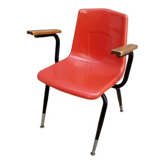 1970s Vintage Artco Bell Fiberglass Orange Shell Arm Accent Chair For Sale