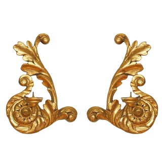 Italian Gold Carved Wood Sconces For Sale