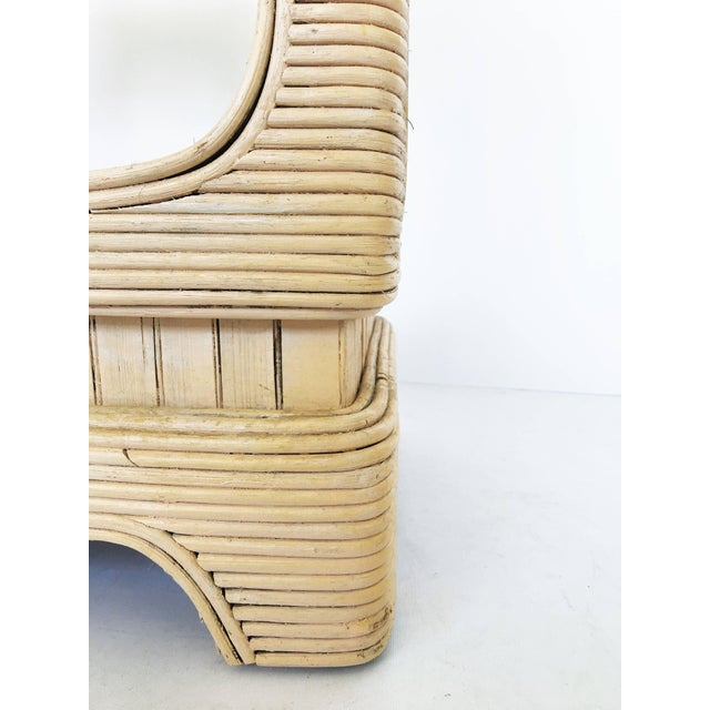 Mid-Century Modern Pair of Vintage Mid-Century Modern Pencil Reed Bamboo Rattan Etageres For Sale - Image 3 of 12