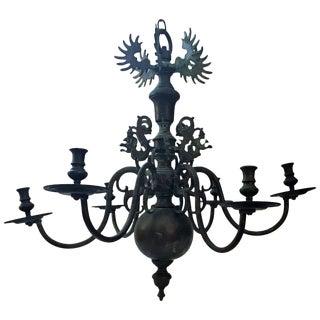 Bronze Baroque Six-Arm Dutch-Flemish Chandelier For Sale