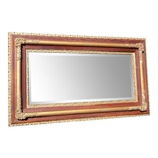 Large Antique Victorian Oak & Gilt Gesso Mantle Mirror Deep Framed Wall Mirror For Sale