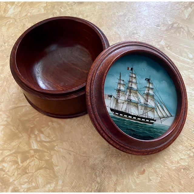 Vintage American Clipper Ship Reverse Painted Wood Box, Round Trinket Box This vintage box is finely carved in rich...