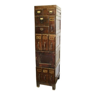 1910's Art Deco Birch and Oak File Cabinet and Cupboard