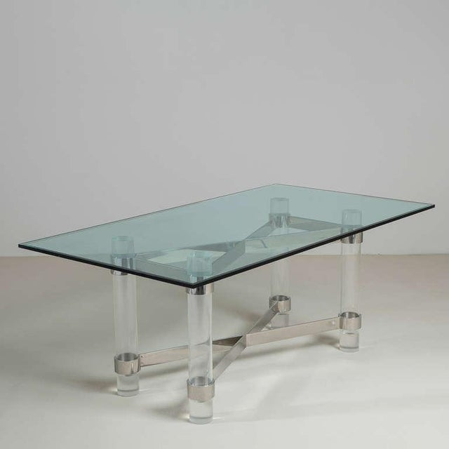Mid-Century Modern A Superb Lucite and Chromium Steel Based Dining Table 1970s For Sale - Image 3 of 9