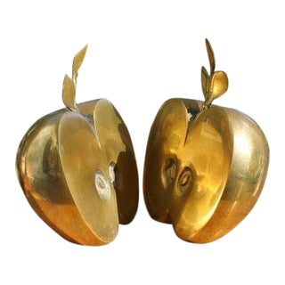 Mid-Century Brass Apple Bookends- A Pair