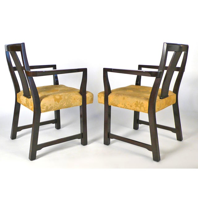 Set of eight dining chairs designed by Edward Wormley for Dunbar. Set includes two arm chairs model No. 295W and four side...
