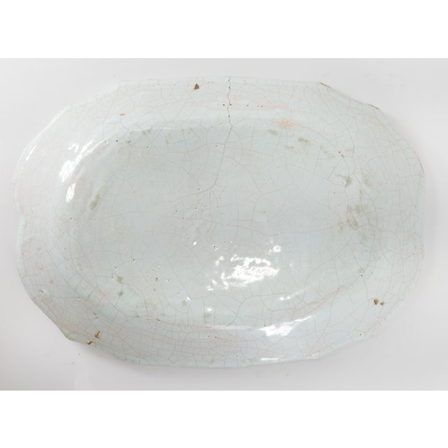 Ceramic French or Dutch Faience Delft Polychrome Chinoiserie Platter For Sale - Image 7 of 10