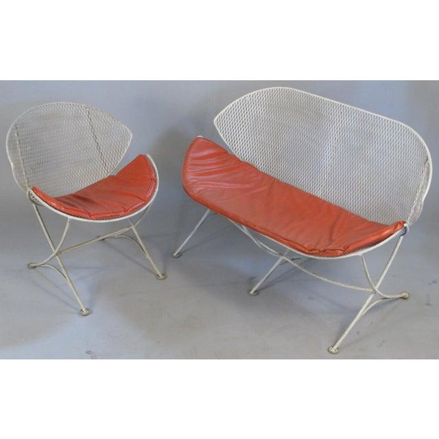Metal 1950s Salterini Orange Slice Settee and Lounge Chair For Sale - Image 7 of 7