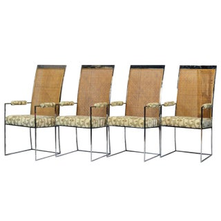 Milo Baughman for Thayer Coggins Chrome and Cane Dining Arm Chairs - Set of 4