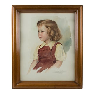 Portrait of Young Girl Gouache on Fine Art Paper Painting by Max Moreau For Sale