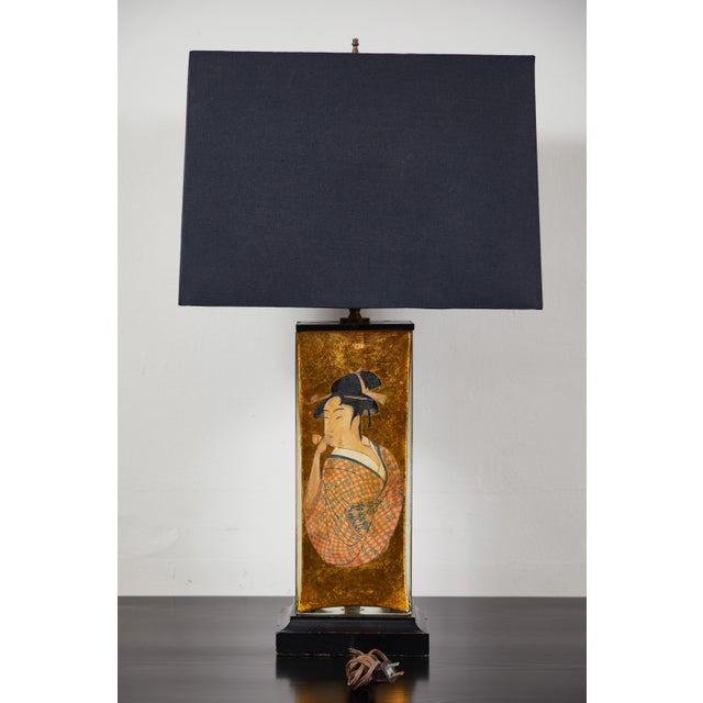 Vintage Églomisé Table Lamp For Sale In Los Angeles - Image 6 of 7