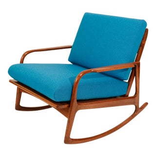 Mid Century Danish Teak Wood Curated Rocking Arm Lounge Chair With New Blue Kvadrat Fabric Cushions For Sale