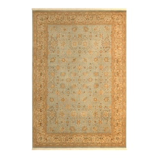 Contemporary Blue/Beige Turkish Hand-Knotted Rug -12'2 X 18'5 For Sale