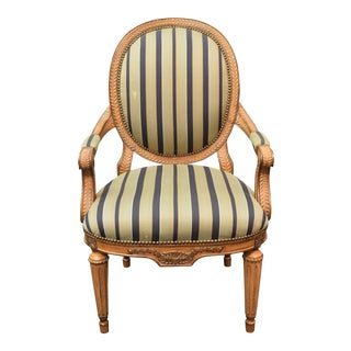 20th Century Traditional Wood and Fabric Striped Side Chair