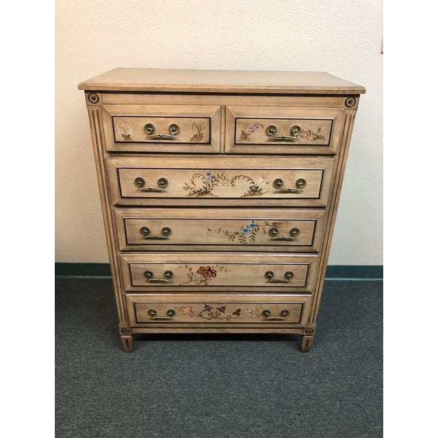 Traditional Vintage Handpainted Dresser + Mirror, From Herald Furniture For Sale - Image 3 of 13