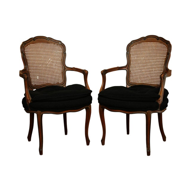 1950s French Louis XV Style Custom Quality Cane Back Fauteuil Armchairs - a Pair For Sale - Image 13 of 13