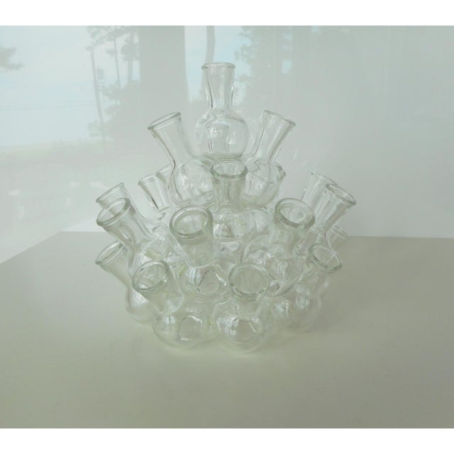 Cottage Vintage Clear Glass Stacked Cluster Bud Vase - 2 Pieces For Sale - Image 3 of 6