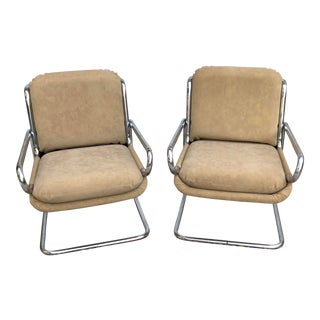 1950s Vintage Naugahyde and Chromed Metal Chairs- A Pair For Sale
