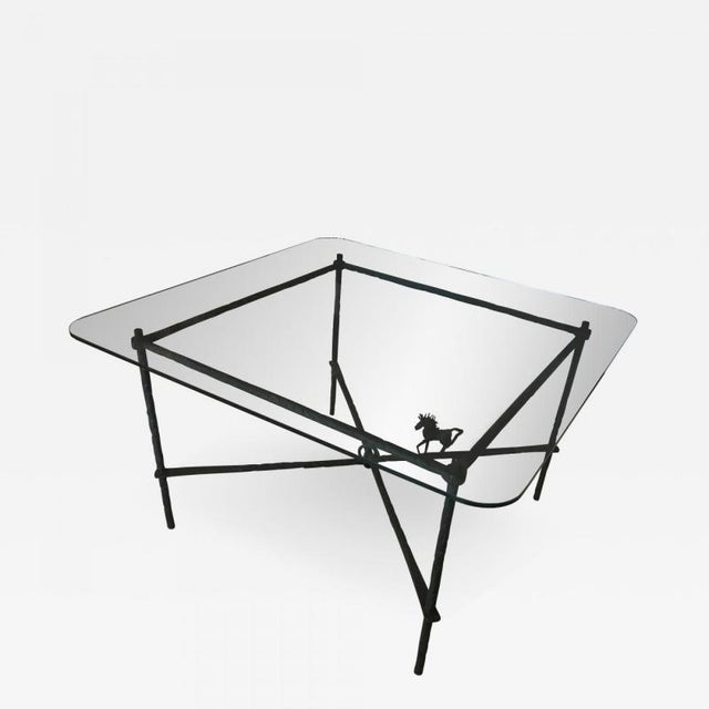 Green 1970s Brutalist Metal Dining Table For Sale - Image 8 of 8