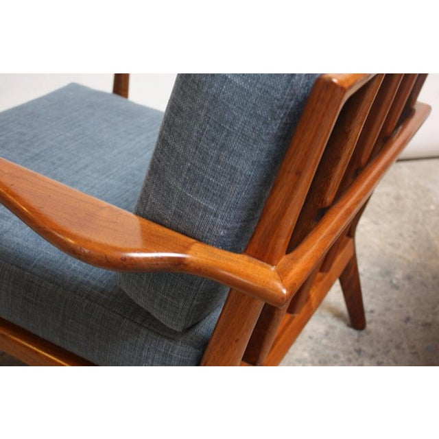 Pair of Mid-Century Walnut Armchairs and Ottoman by Mel Smilow - Image 5 of 11