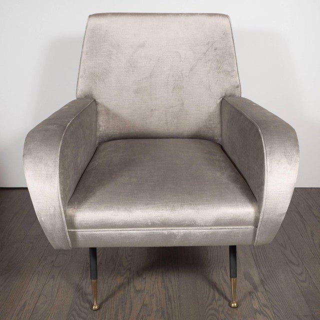 Italian Mid-Century Modern Lounge Chair with Black Enamel Legs and Brass Feet - Image 2 of 9