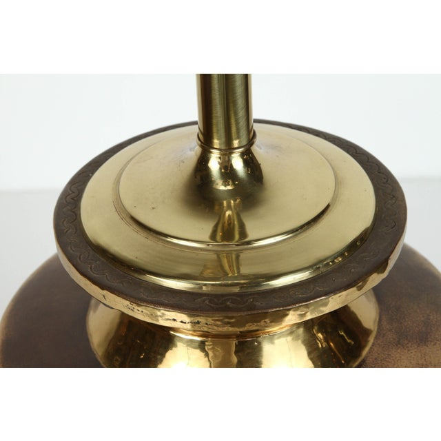 Brass Pair of Polished Moroccan Brass Table Lamps For Sale - Image 7 of 9