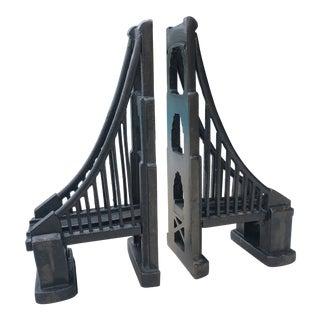 Architectural Cast Iron Suspension Bridge Bookends - a Pair For Sale