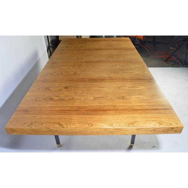 Harvey Probber Rosewood and Mahogany Dining Table With Brass Accents For Sale In Philadelphia - Image 6 of 8