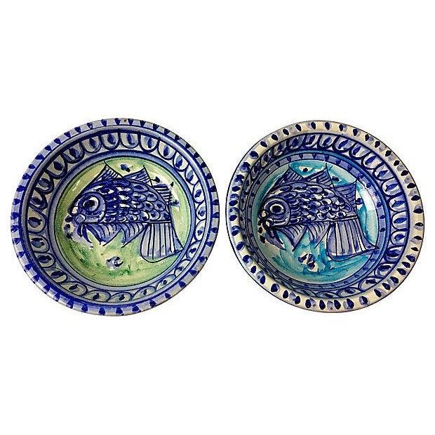 Fish Motif Terracotta Bowls - A Pair For Sale