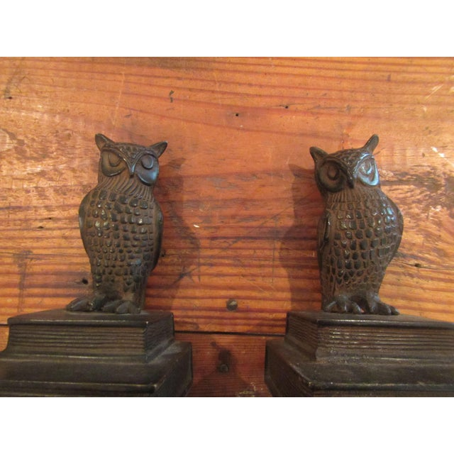Bronze Vintage Bronze Owl Bookends - A Pair For Sale - Image 7 of 8