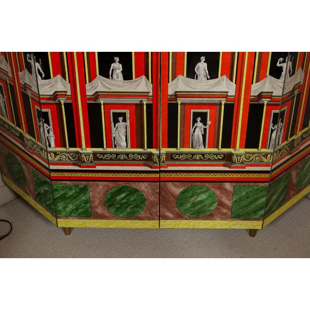 1970s Piero Fornasetti Exceptional Lacquered Encoignure/Corner Cabinet For Sale - Image 5 of 8