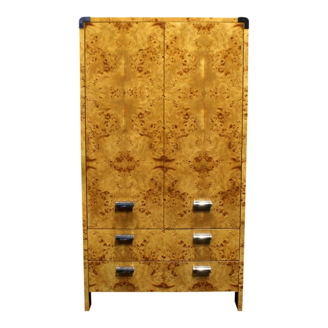 Mid Century Modern Burl and Chrome High Chest Wardrobe by Pace For Sale