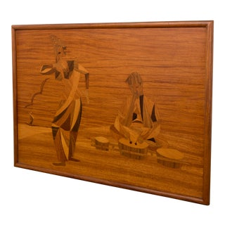 1930s Art Deco Marquetry Wood Panel in Ash Frame For Sale