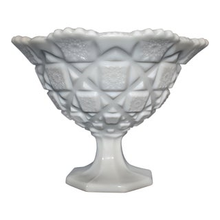 Vintage Milk Glass Footed Bowl For Sale