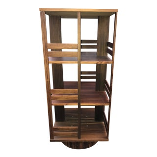 1970s Mid Century Modern Rotating Bookcase Rosewood For Sale