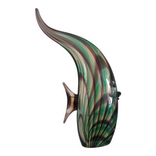 Vintage Large Murano Glass Fish- Luigi Mellara For Sale