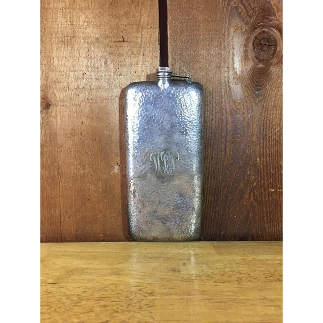 Boho Chic Silver-Plate Hip Flask by Apollo Co c. 1900 For Sale - Image 3 of 9