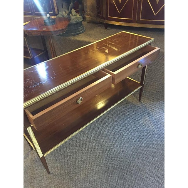 Two Drawer Bronze Mounted Console Tables - Pair - Image 7 of 8