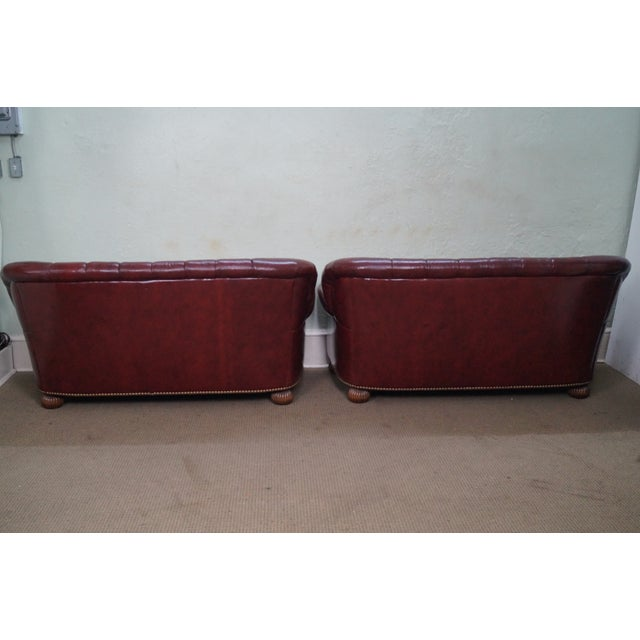 Tufted Leather Chesterfield Sofas A Pair Chairish