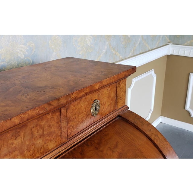 Description: This is a very fine antique burled elm rolltop cylinder desk, c1880. Previously restored. Features a nice...