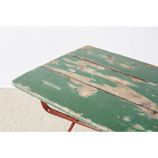 Early 20th Century French Folding Iron Garden or Bistro Style Dining Table For Sale - Image 5 of 13