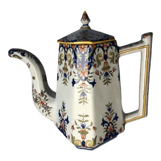 18th Century Rouen Ware Antique French Teapot For Sale