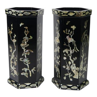 Antique Chinese Mother of Pearl Inlaid Vases- a Pair For Sale